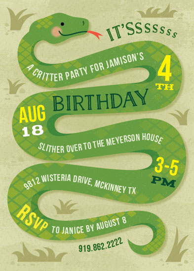 birthday party invitations Slithering Snake at Mintedcom