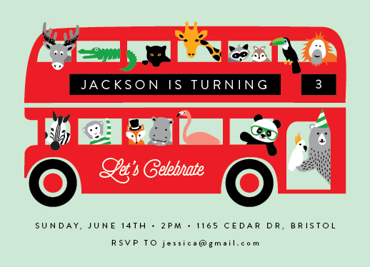 birthday party invitations - London Zoo by Kampai Designs
