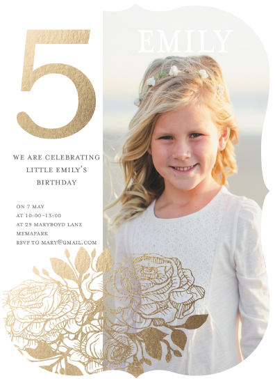 birthday party invitations - golden flower by Cecilia Ferreira