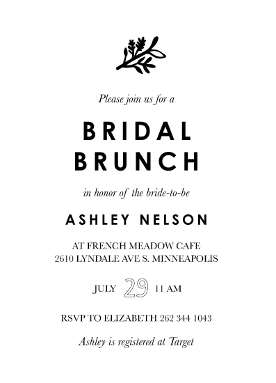 party invitations - Simple Bridal Brunch by Chrissie Parker