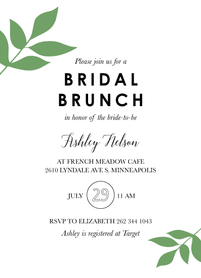 party invitations - Bridal Brunch Greenery by Chrissie Parker