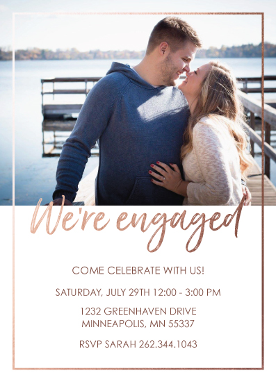 party invitations - Rose Gold Engagement by Chrissie Parker