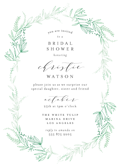 party invitations - dainty green bride by Phrosne Ras
