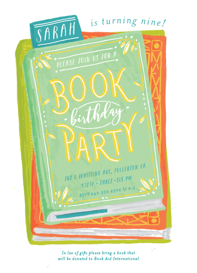 birthday party invitations - Book Stack by Shiny Penny Studio