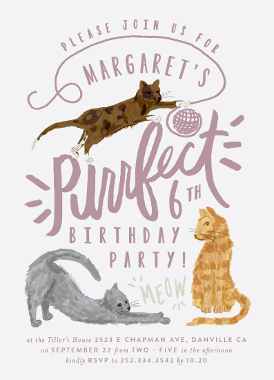 birthday party invitations - Purrefect Kittens by Shiny Penny Studio