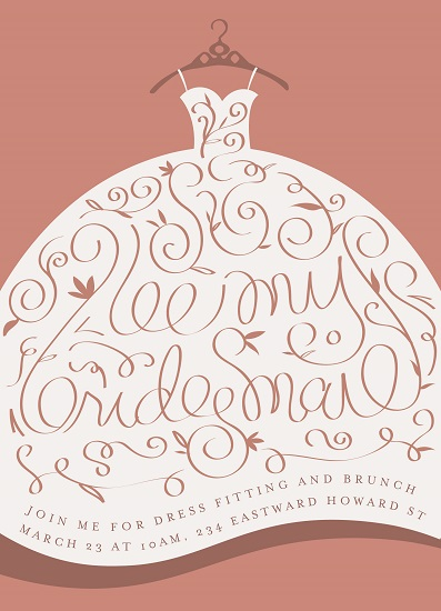 party invitations - Elegant Bridesmaid by Grae Sales