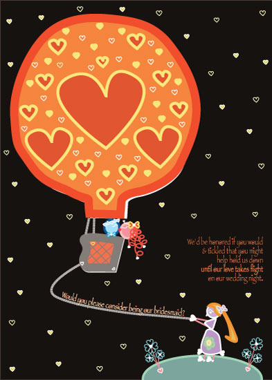 party invitations - Bridesmaid Love in Hot Air by Liane Little Eye