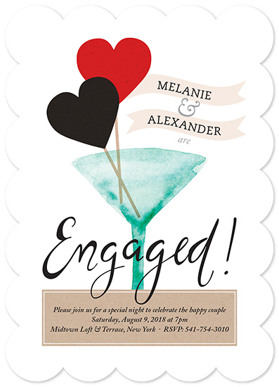 party invitations - Heart Martini Engagement by Chhaya Joynt