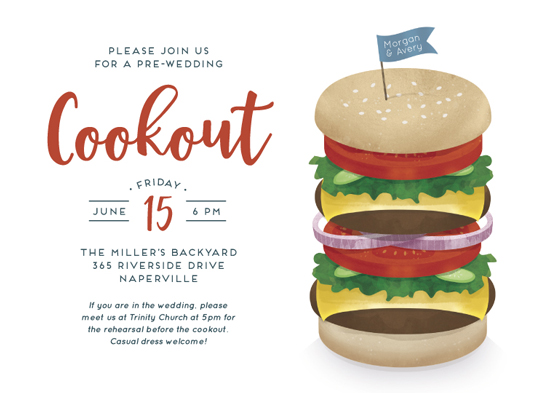 party invitations stacked burger cookout at minted com