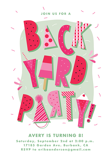birthday party invitations - Backyard Party by Tatiana Nogueiras