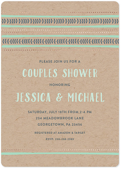 party invitations - Mint Tribal Border by Allison Kizer