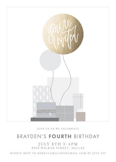 birthday party invitations - Kids minimalist foil pressed birthday invitation by Cherie Trudeau