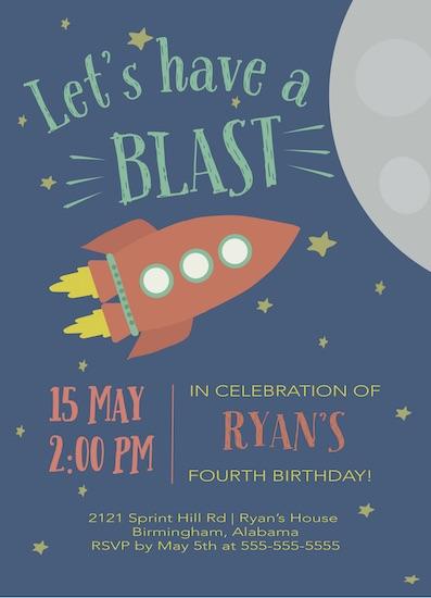 birthday party invitations - Rocket Launch by Hallie Fischer