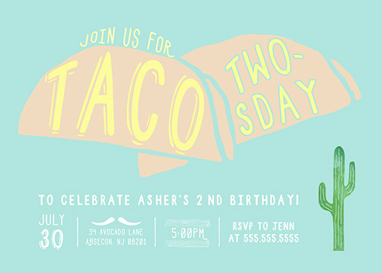 birthday party invitations taco twosday at minted com