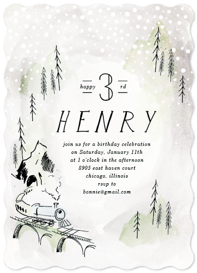 birthday party invitations - Winter Train by Baumbirdy