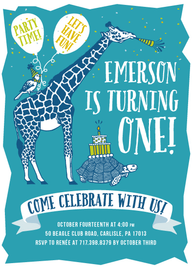 birthday party invitations - Giraffe and Friends First Birthday by Jenna Pellman Design