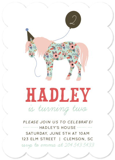 birthday party invitations - Floral Birthday Pony by Bess McCullough
