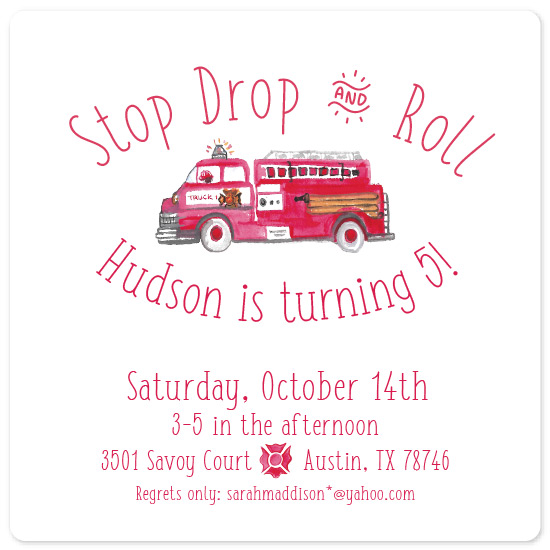 birthday party invitations - Stop Drop and Roll by Carrie Shannon