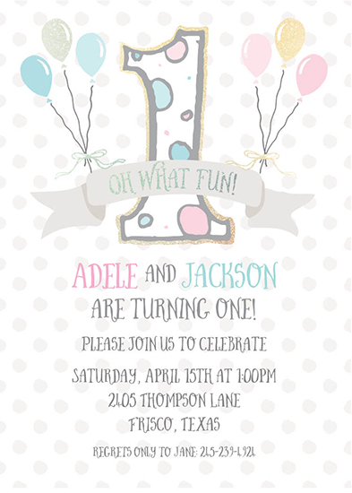 birthday party invitations - Twins First Birthday Balloons by Allison Kizer
