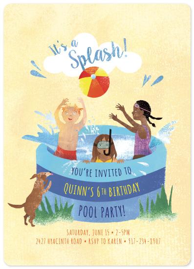 birthday party invitations - It's a Splash by Ellen Korbonski