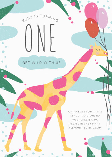 birthday party invitations - Wild Giraffe Party by Sarah Tollin