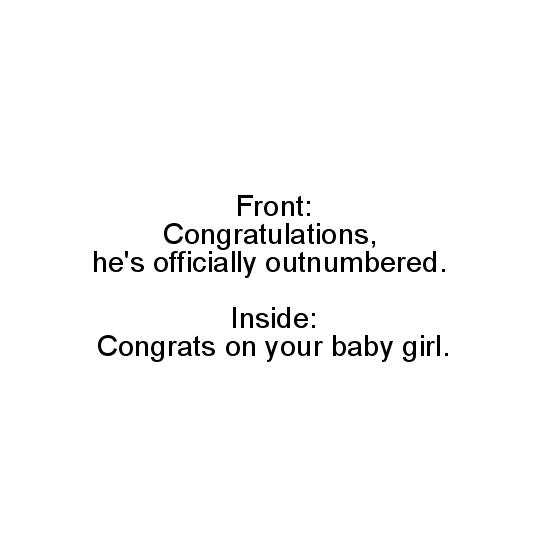 greeting card - Outnumbered Baby Girl by Hannah Wilson