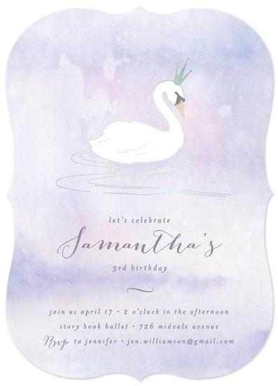 birthday party invitations - Swan Princess by Liz Conley