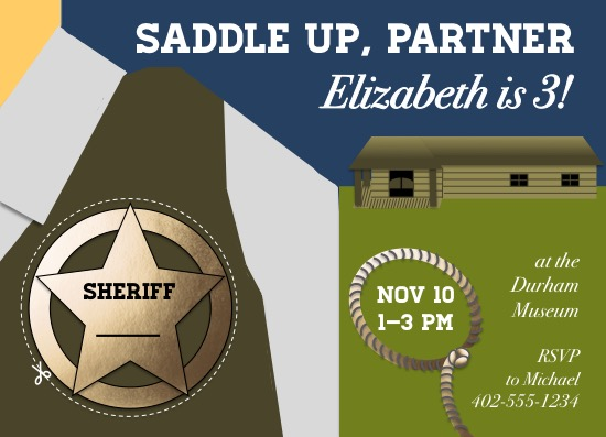 birthday party invitations - Saddle Up with Sheriff's Badge by Spectacles and Keys
