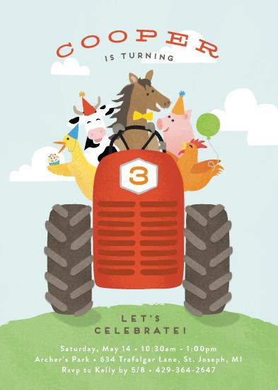 birthday party invitations - farm animal friends by Jennifer Wick