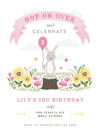 birthday party invitations - Little Bunny by Michelle Taylor