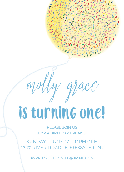 birthday party invitations - Confetti Ballon by Jillanne Chimento