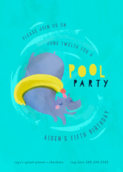 birthday party invitations - Animal Pool Party by Lori Wemple