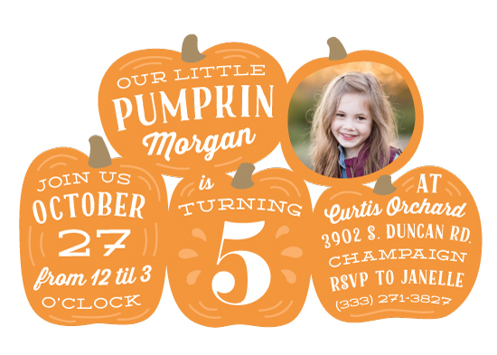 birthday party invitations - Pumpkin Patch by Laura Hankins