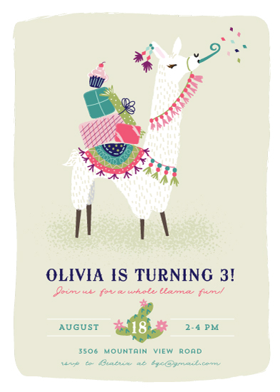birthday party invitations - Party Llama by Jackie Crawford