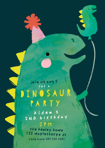 birthday party invitations - Dinosaur Balloon by Lori Wemple