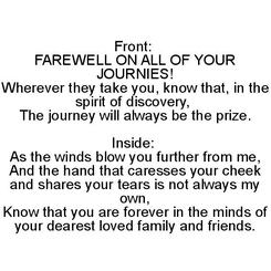 Farewell on Your Journies