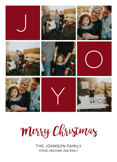 holiday photo cards - Joy Squares by Chrissie Parker