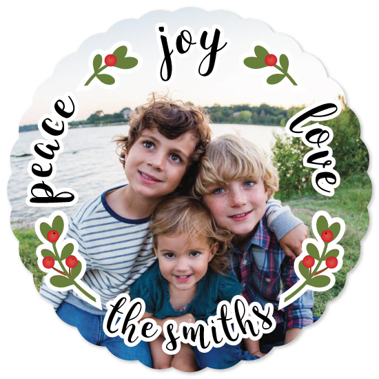 holiday photo cards - scalloped joy by sprinkledwithcolor