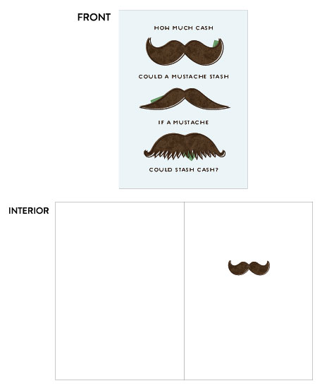 greeting card - Mustache Cash by Amy Payne