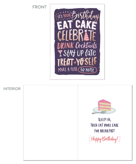 greeting card - Treat Yo'self by Hooray Creative