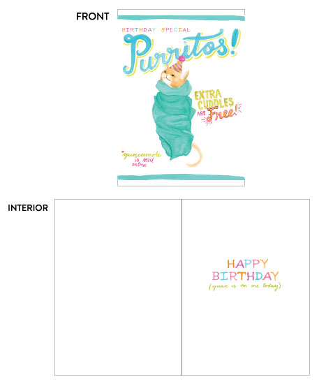 greeting card - Purritos Birthday Special by Kate Wong
