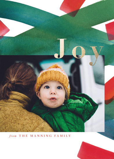 holiday photo cards - Festive Watercolor Stripes by Four Wet Feet Studio
