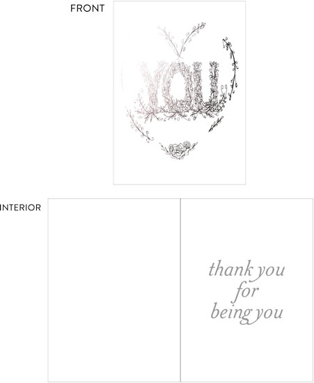 greeting card - Thank you for being you by Cecilia Ferreira