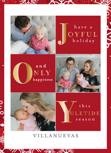 holiday photo cards - JOY this Yuletide Season by Rose Pajaroja