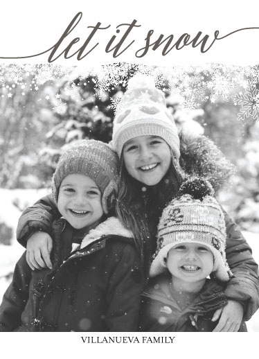 holiday photo cards - Let It Snow BW by Rose Pajaroja