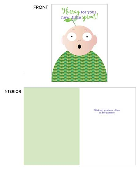 greeting card - New Little Sprout by Lois DeCastro, AfternoonArts