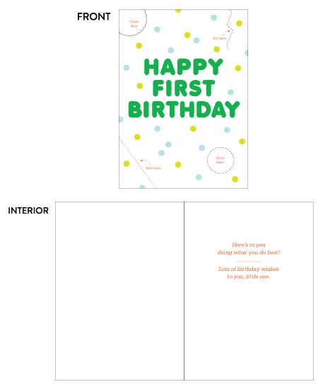 greeting card - First Birthday Activity Card by Paper Route Studio