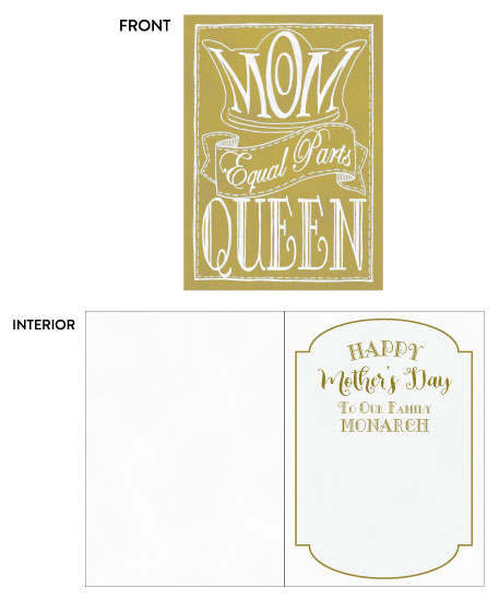 greeting card - Mothers Day Mom Equal Parts Queen by Kate Pitner