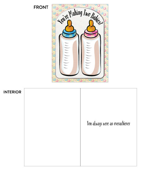 greeting card - Baby Shower - Twins Over Achiever - Blue and Pink by Kate Pitner