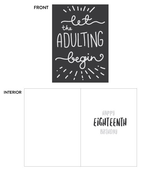 greeting card - 18th birthday  - let the adulting begin by Ilze Lucero